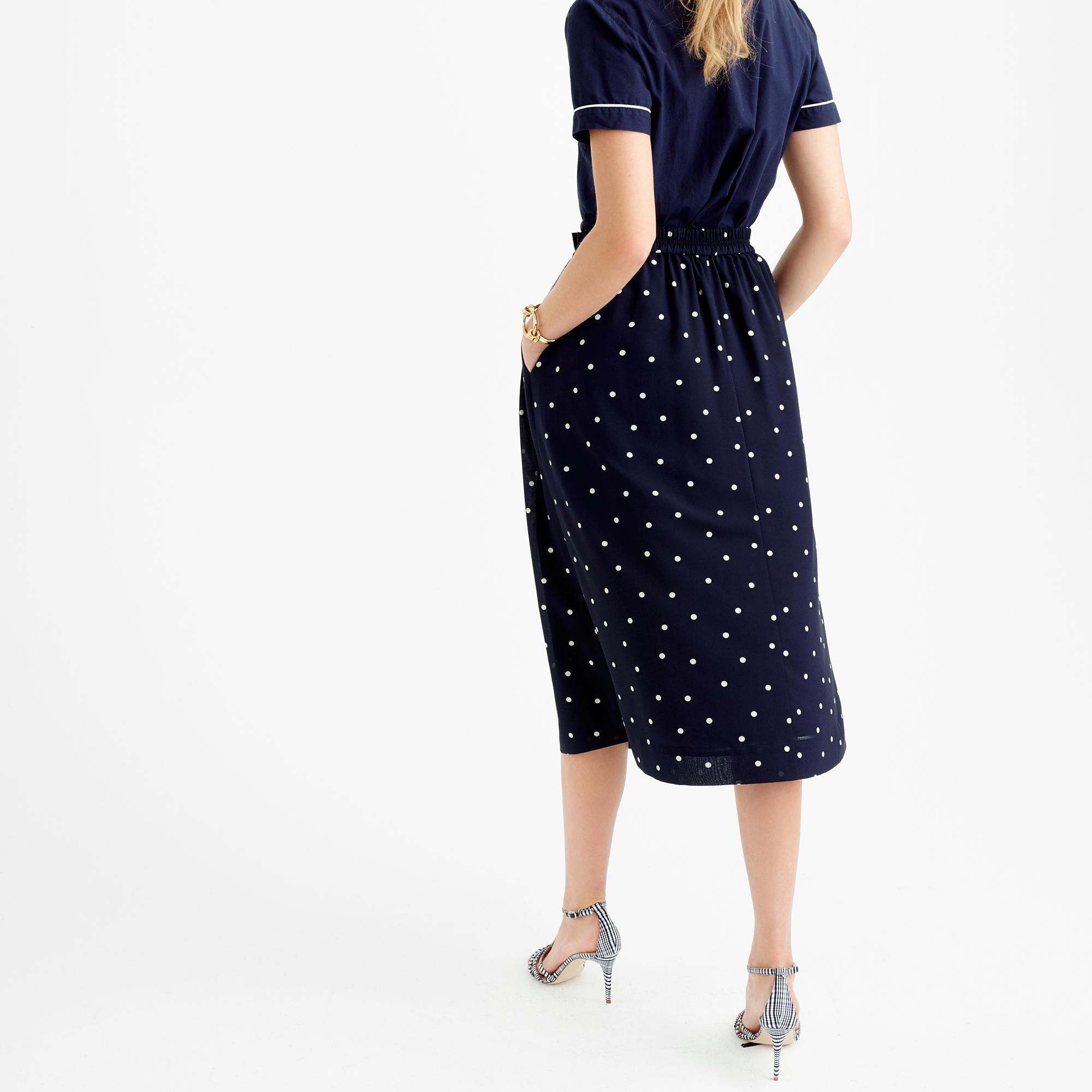 j crew pleated midi skirt in polka dot in blue lyst