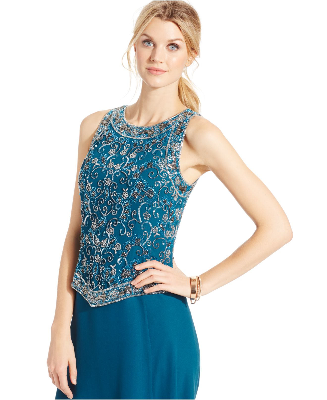Lyst - J Kara Beaded Bodice Sleeveless Gown in Blue