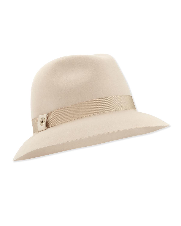 b55e6565f09 Loro Piana Natural Ingrid Velvet Felt Fedora Hat