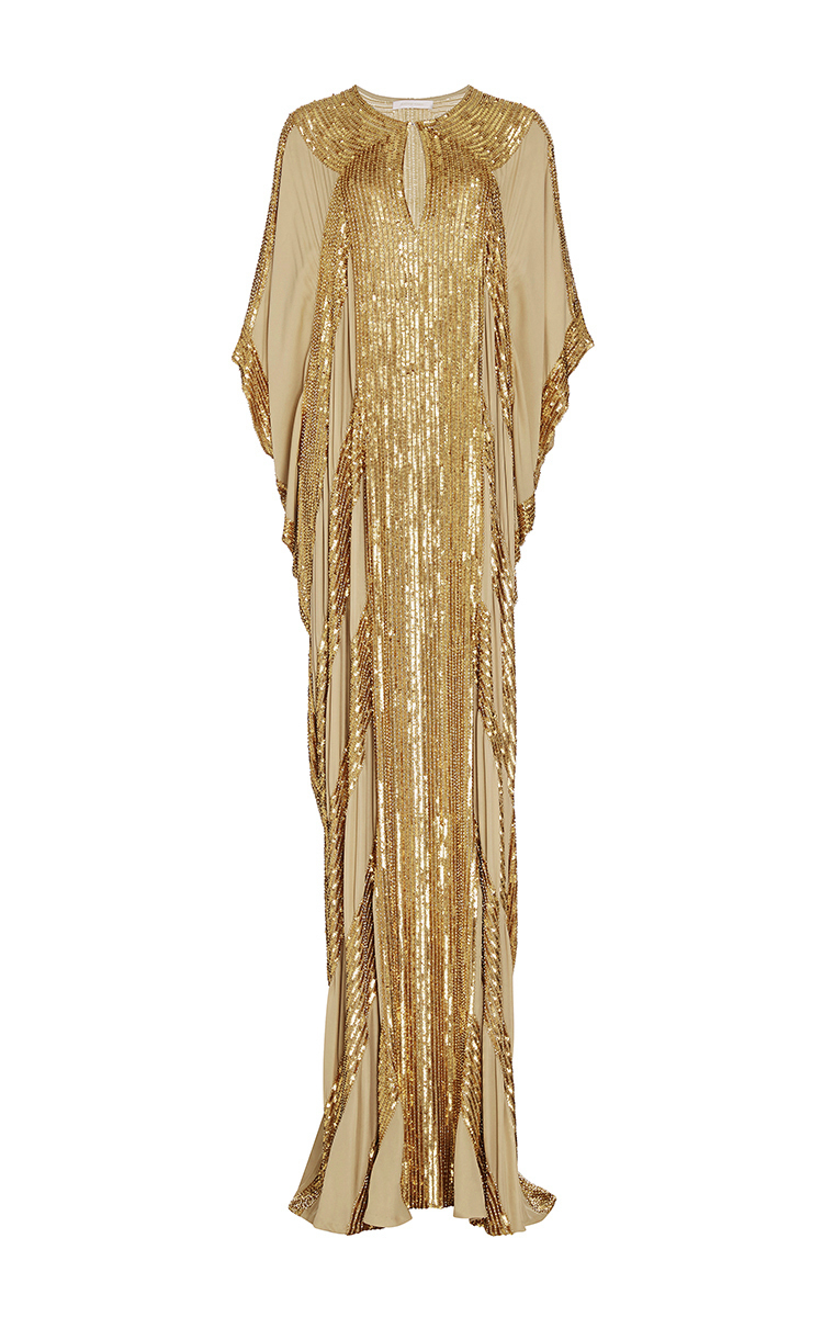 Naeem khan embellished linear silk georgette gown in gold for Caftan avec satin de chaise