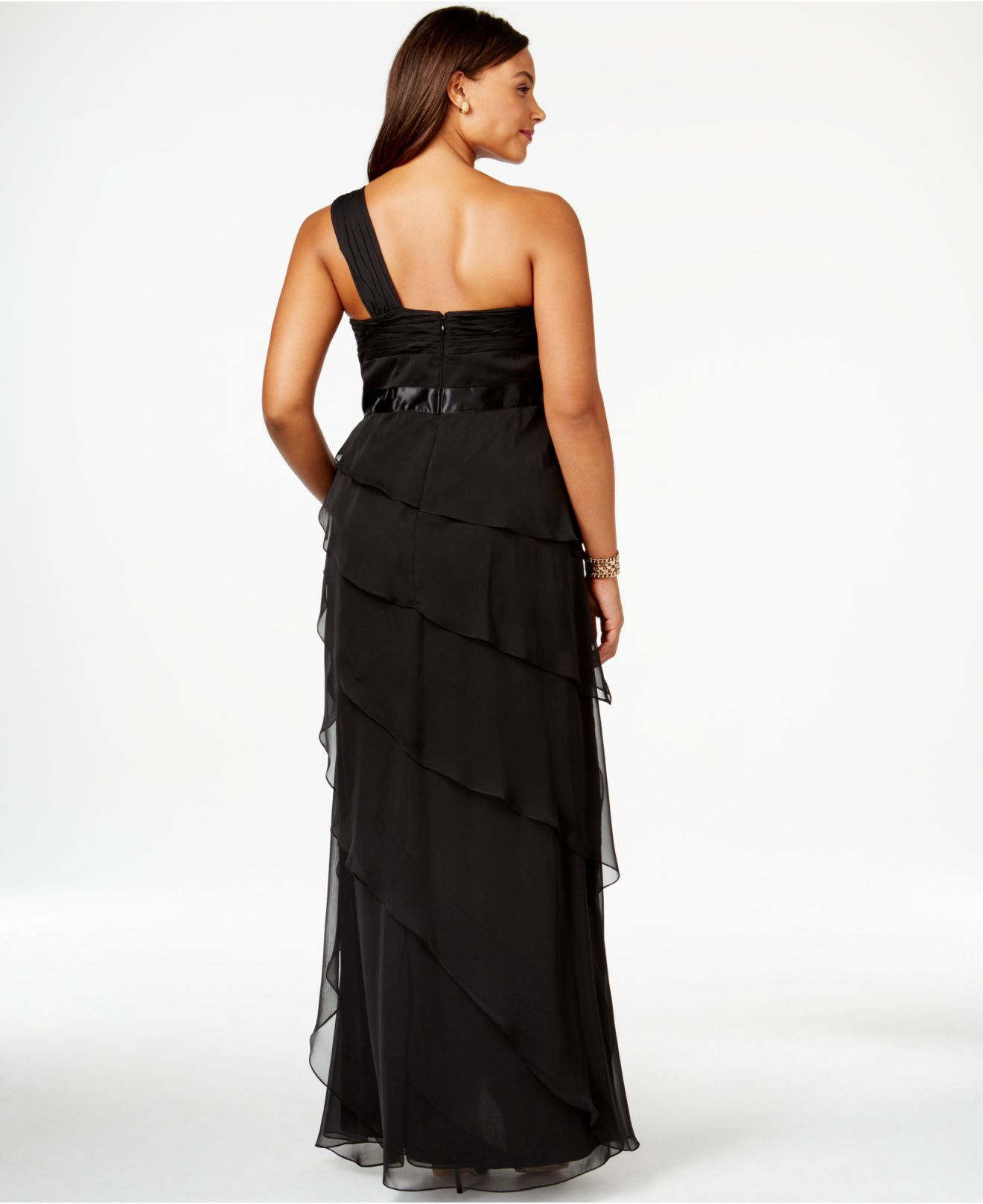 Lyst Adrianna Papell Plus Size One Shoulder Tiered Chiffon Gown In