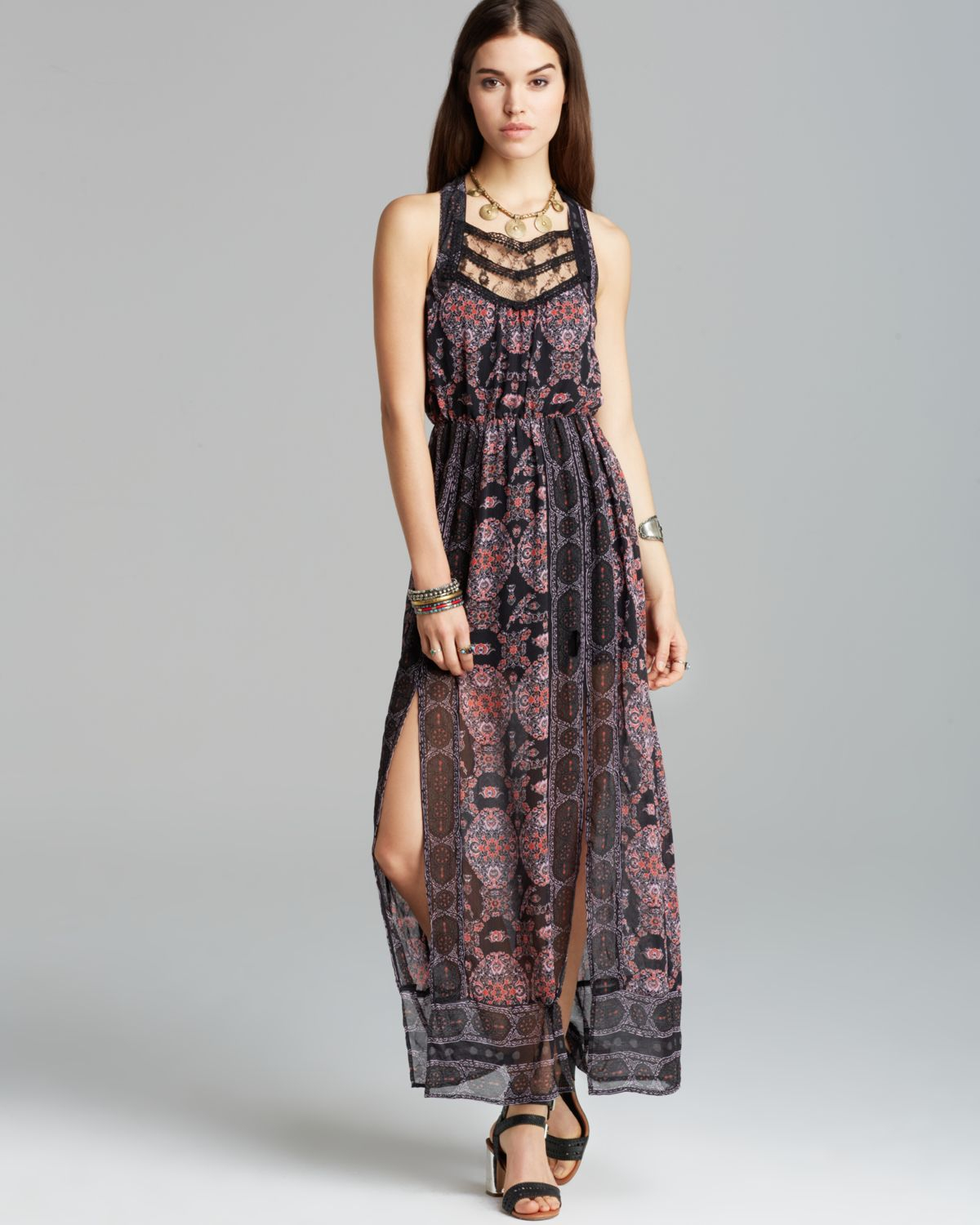 Lyst Free People Maxi Dress Moroccan Printed In Black
