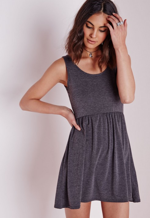 97b1c0ed062c9 Lyst - Missguided Sleeveless Jersey Skater Dress Dark Grey in Gray