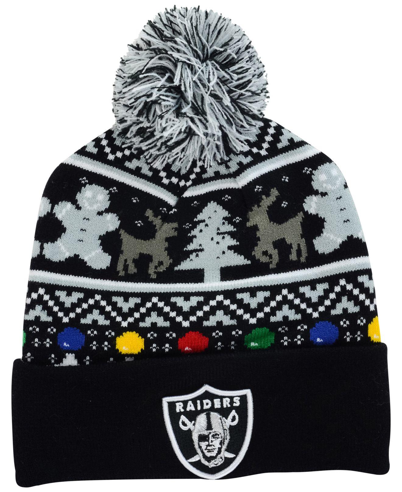 Lyst Ktz Oakland Raiders Christmas Sweater Pom Knit Hat In Black