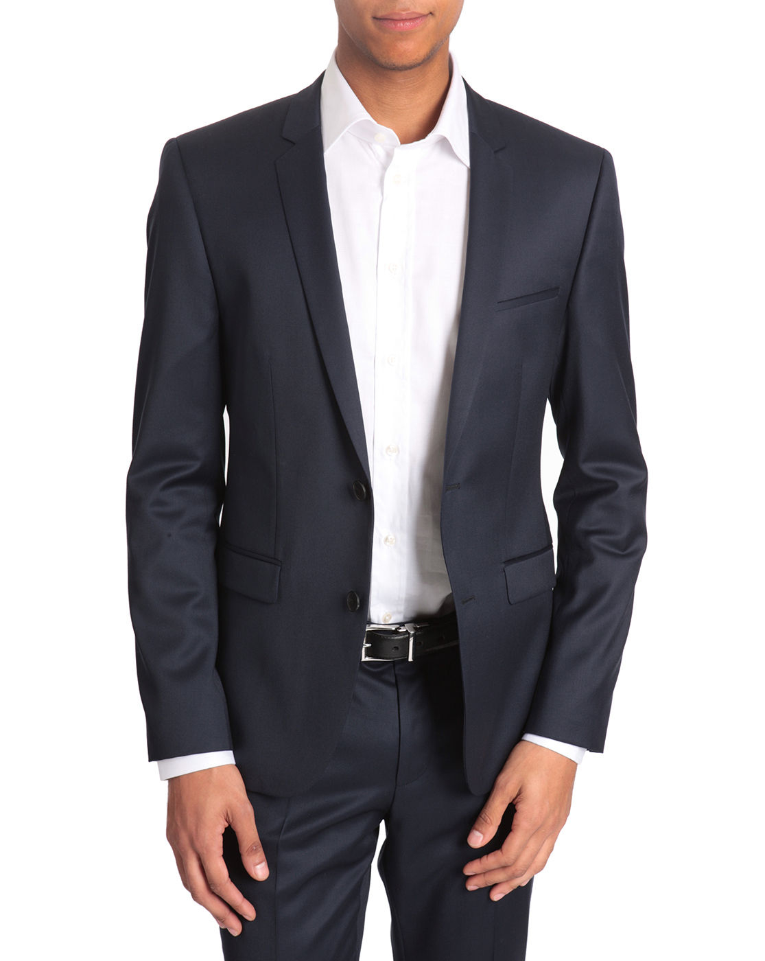 hugo adris super 130 slim fit navy suit in blue for men. Black Bedroom Furniture Sets. Home Design Ideas