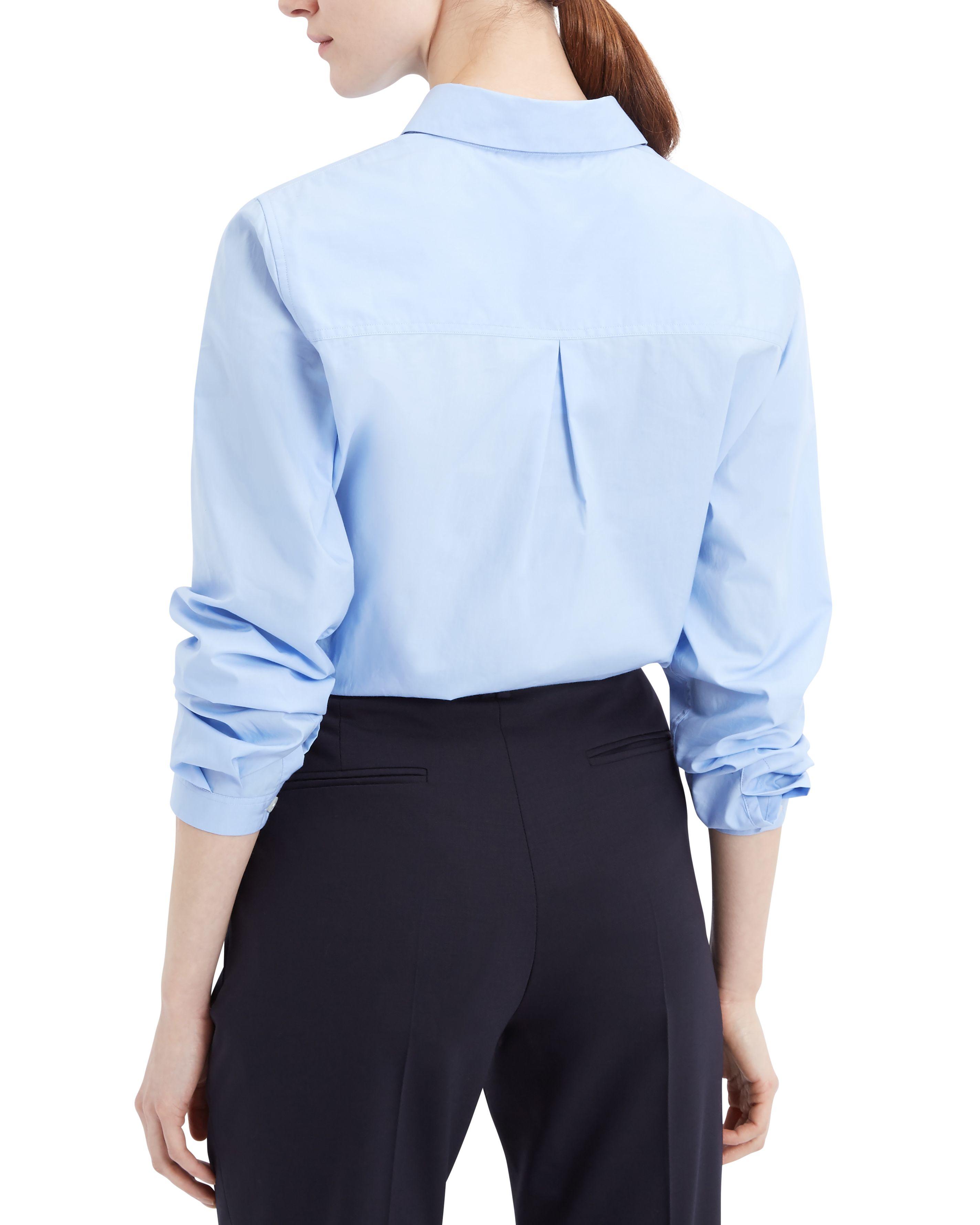 Jaeger cotton poplin work shirt in blue lyst for Blue cotton work shirts