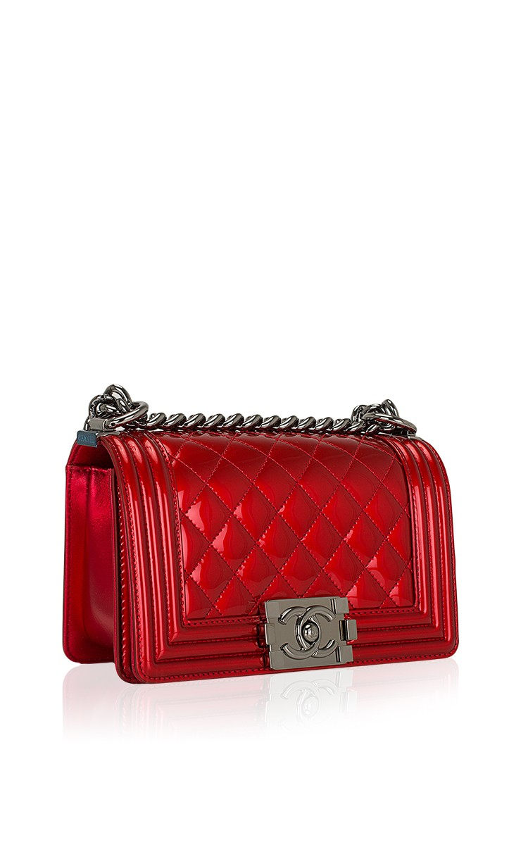 a6d2357a9d64 Lyst - Madison Avenue Couture Chanel Red Metallic Patent Small Boy ...