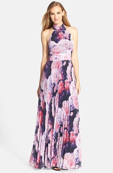 Eliza j Floral Chiffon Maxi Dress in Purple - Lyst