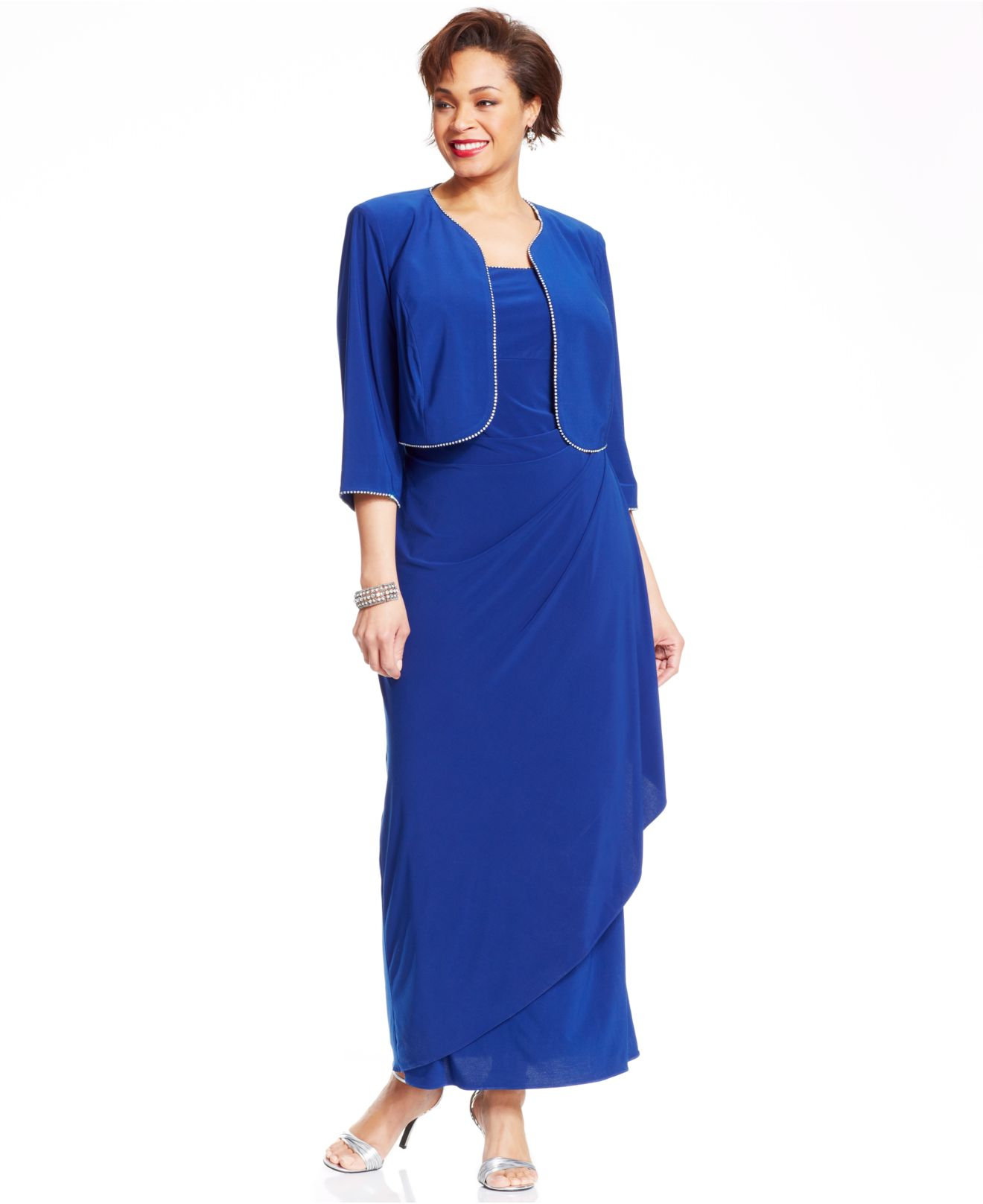 4169cc8a6625c Lyst - Alex Evenings Plus Size Sparkletrim Gown and Jacket in Blue