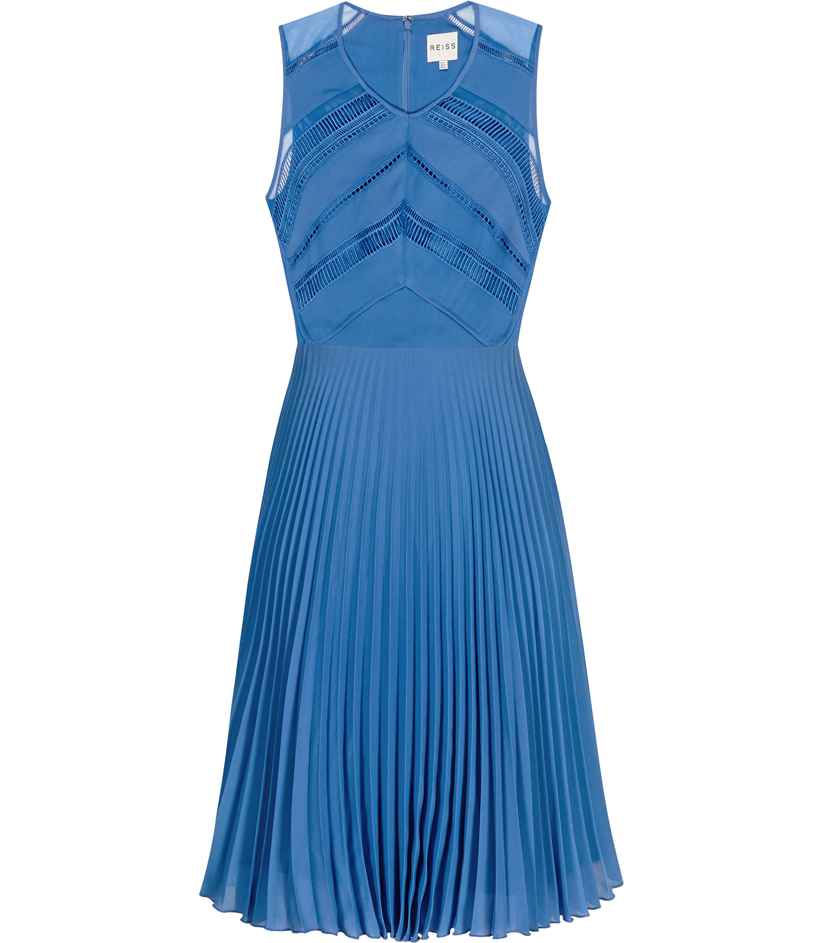 Reiss Tillie Lace Top Pleated Dress in Blue | Lyst