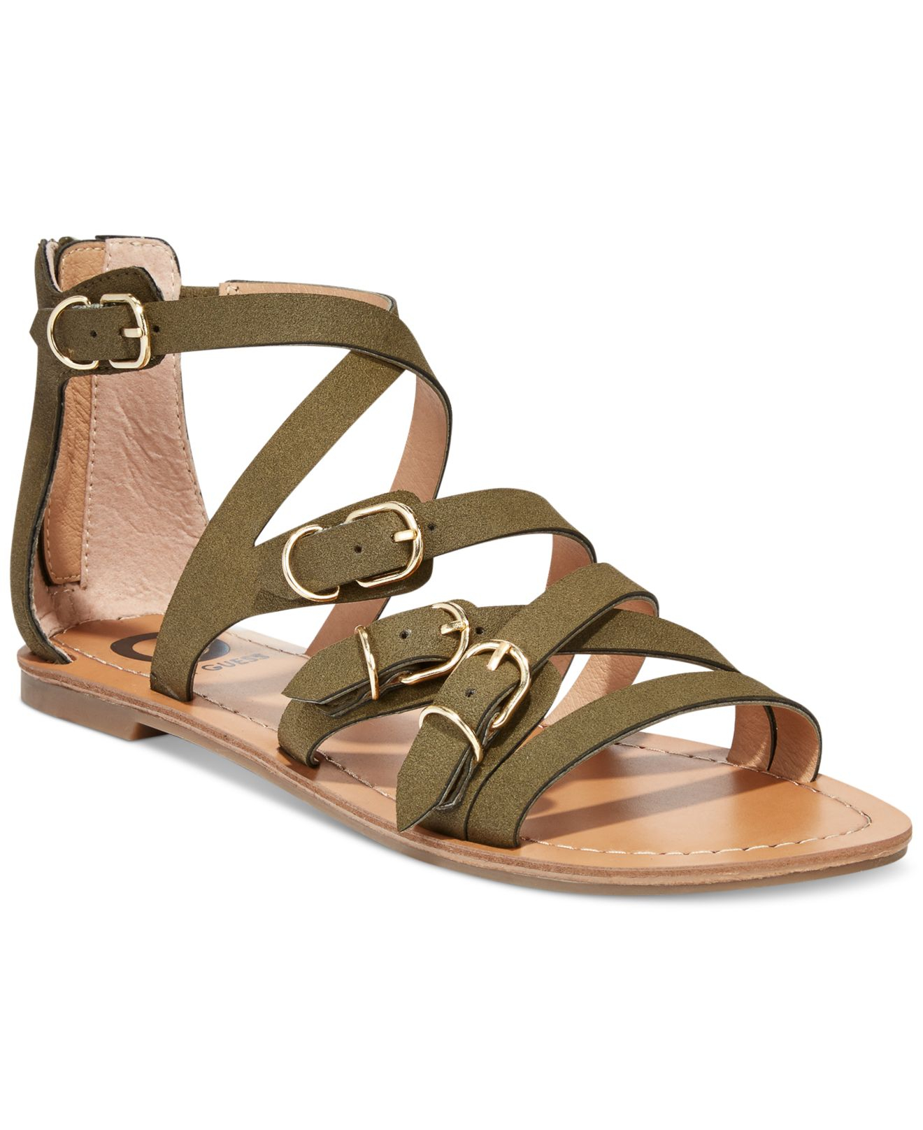 6b73640f698b Lyst - G by Guess Women S Harris Strappy Flat Sandals in Natural