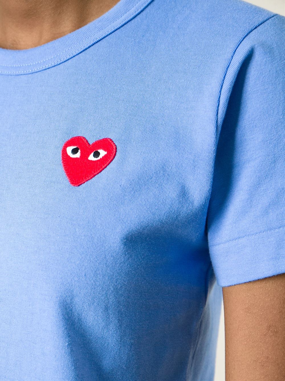 Play Comme Des Gar Ons Embroidered Heart T Shirt In Blue
