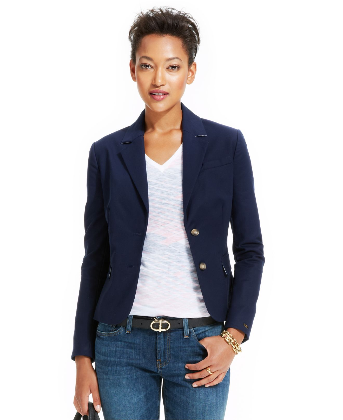 Lyst Tommy Hilfiger Long Sleeve Double Button Blazer In Blue