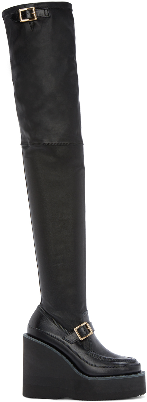 sacai black leather thigh high wedge boots in black lyst