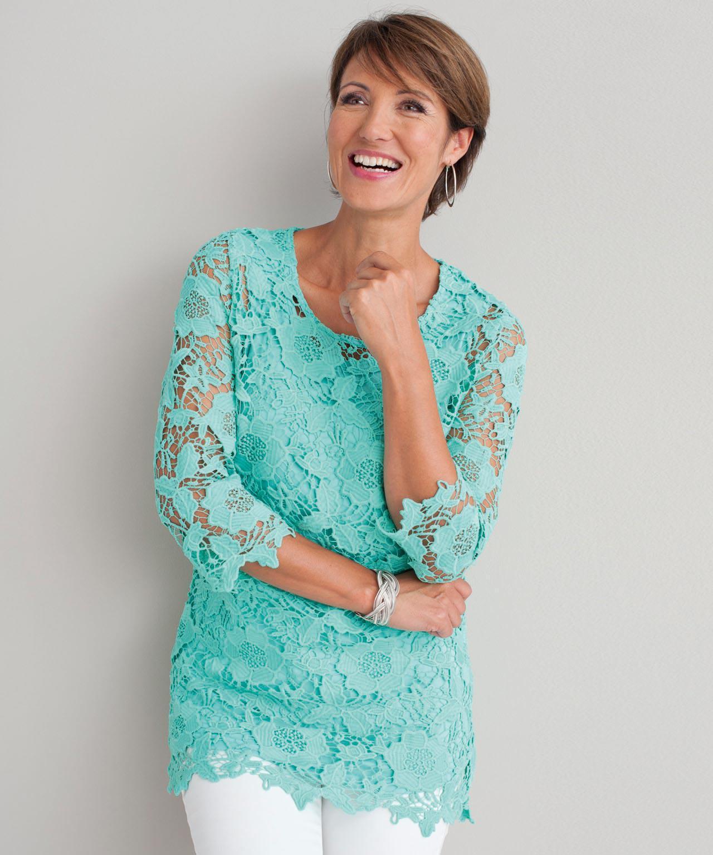 33e72fc1d54b DAMART. Women's Lace Detail Tunic