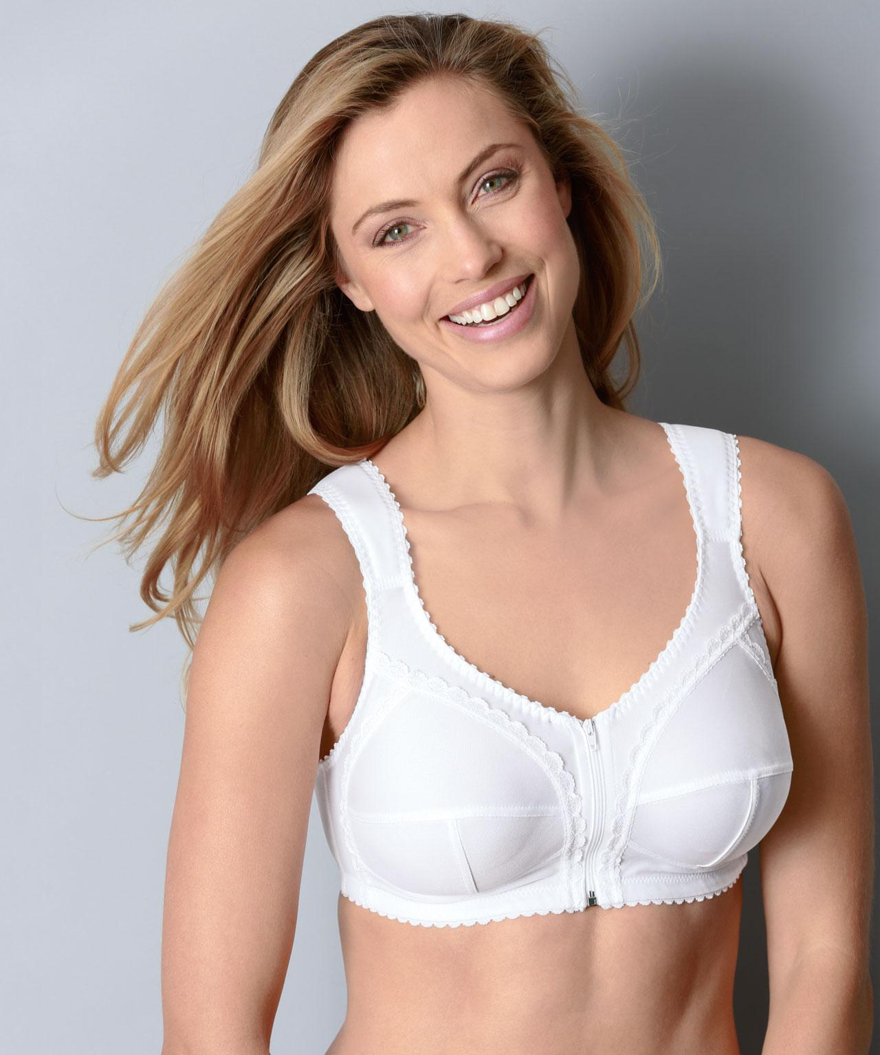 7af8244039415 DAMART Front Fastening Cross-back Support Bra in White - Lyst