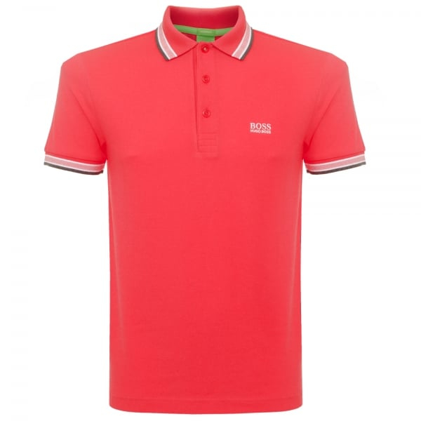 Boss green dark red paddy polo shirt 5032557 in green for for Dark green mens polo shirt