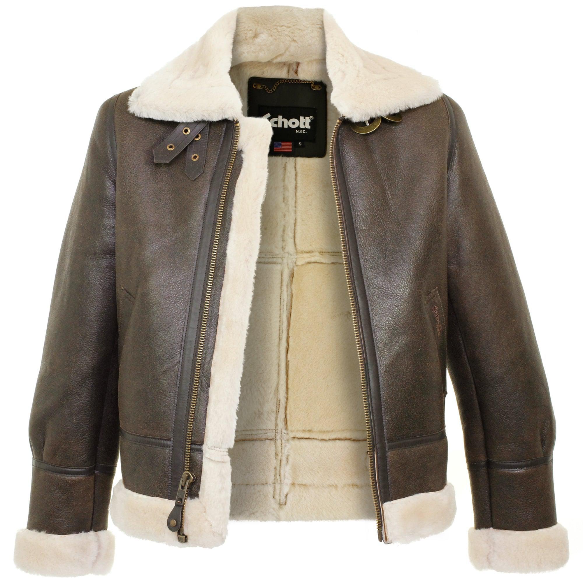c7c55b1ab Schott Nyc Multicolor Schott Lc1259 Bombardier Marron Sheepskin Leather  Jacket for men