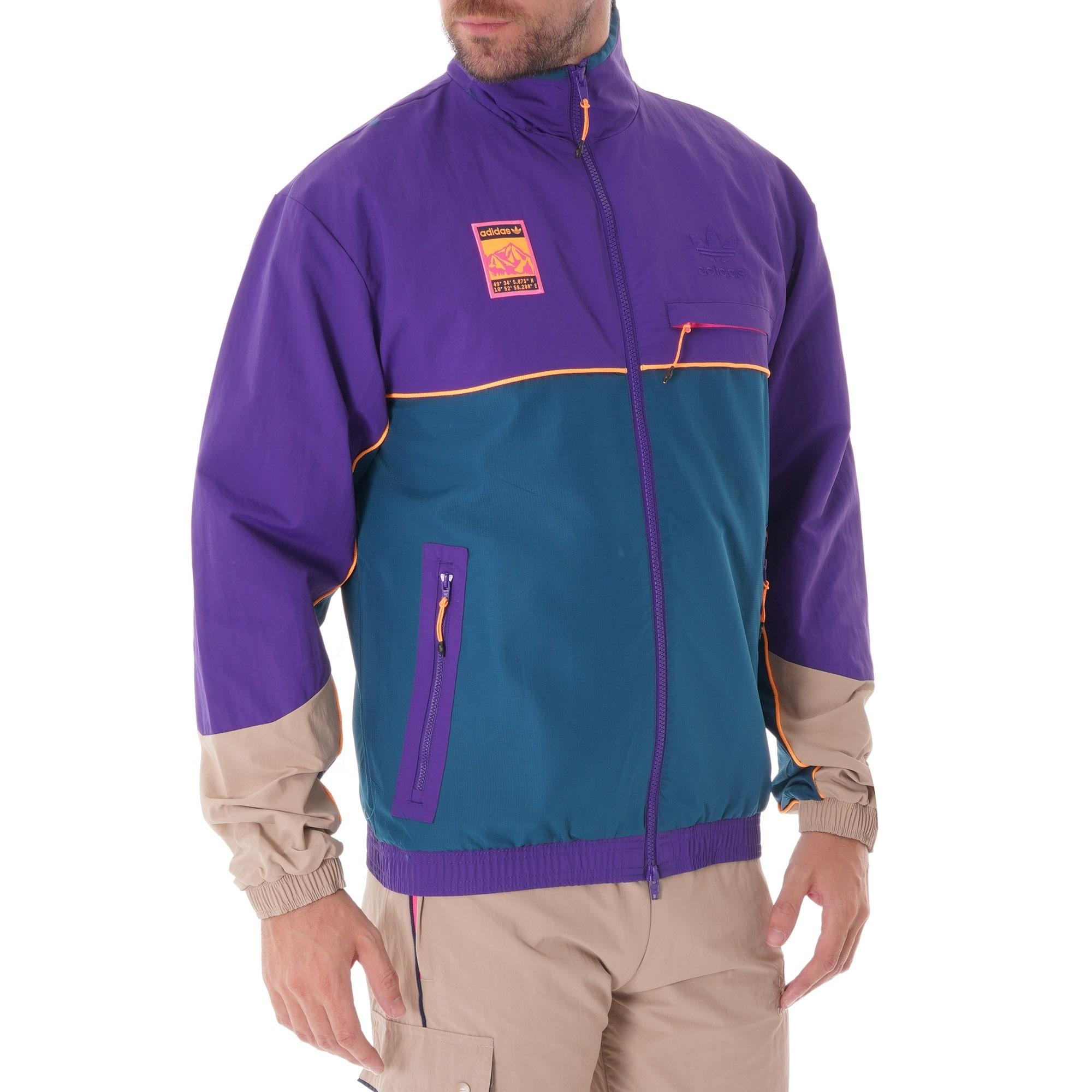 adidas Originals adiplore half zip jacket with hood in purple
