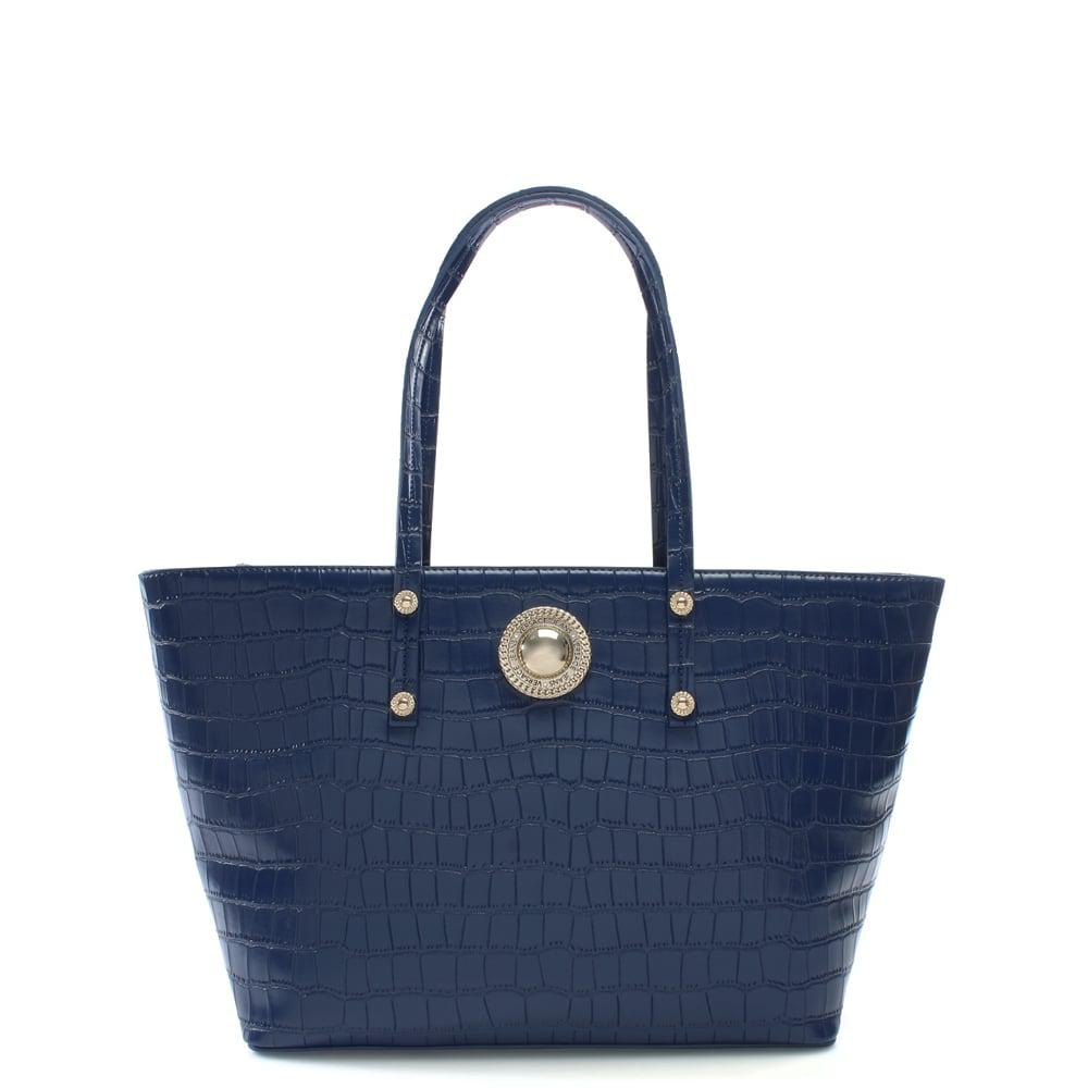 3effaff105 Versace Jeans Blue Plaque Navy Moc Croc Tote Bag