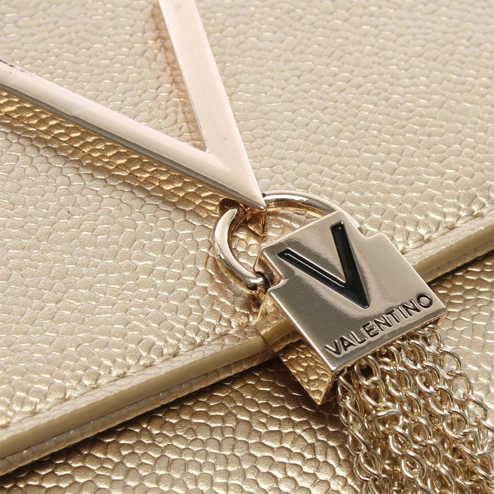 24065c43ff2d9 Valentino By Mario Valentino Divina Gold Pebbled Clutch Bag in ...