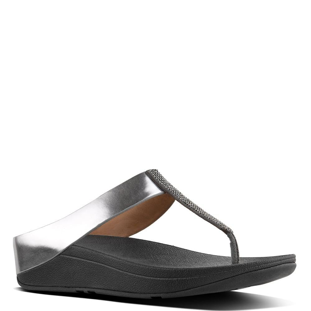 0555d4ca294 Lyst - Fitflop Fino Pewter Leather Glitter Toe Post Sandals