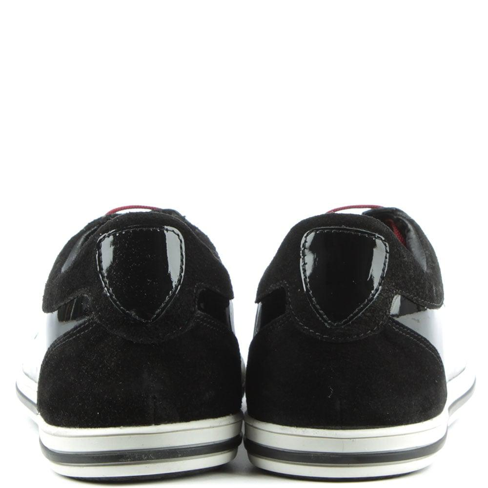 Daniel Footwear Leather Black Patent Sporty Lace Up Trainer for Men