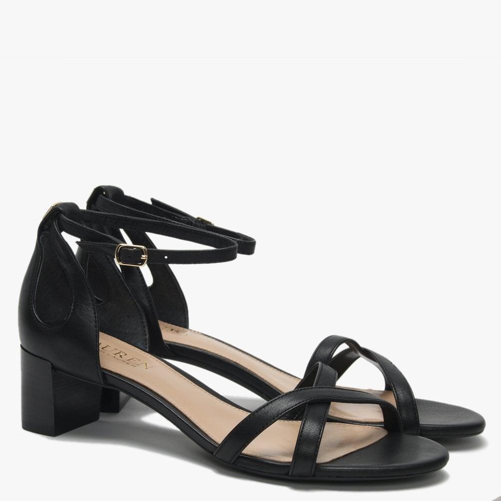 05a47c6db11 Lauren by Ralph Lauren - Folly Black Leather Block Heel Sandals - Lyst.  View fullscreen