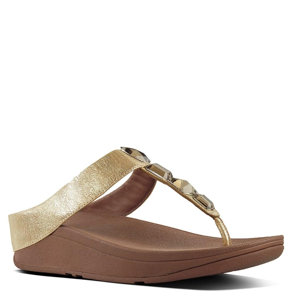 44bdc2423d9 Fitflop - Metallic Roka Gold Leather Toe Post Sandals - Lyst. View  fullscreen