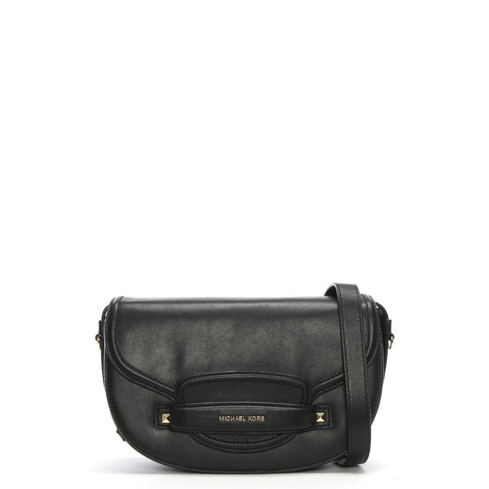 e6725aa2c919 Michael Kors - Medium Cary Black Leather Saddle Bag - Lyst. View fullscreen