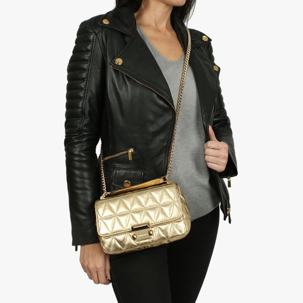 5a19bcd579f1fc Michael Kors Small Sloan Ii Old Gold Quilted Leather Cross-body Bag ...