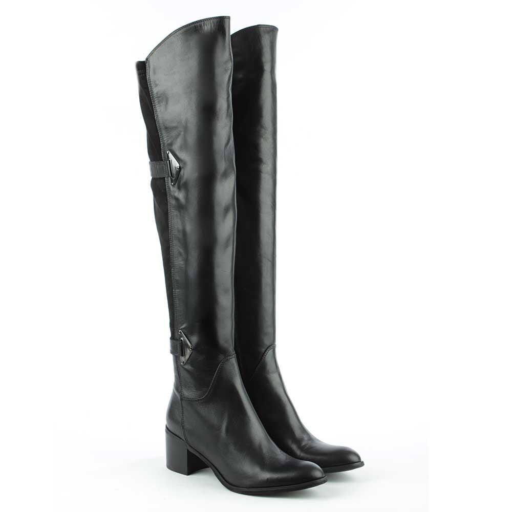Daniel Lorelei Black Leather Two Strap Over The Knee Boot