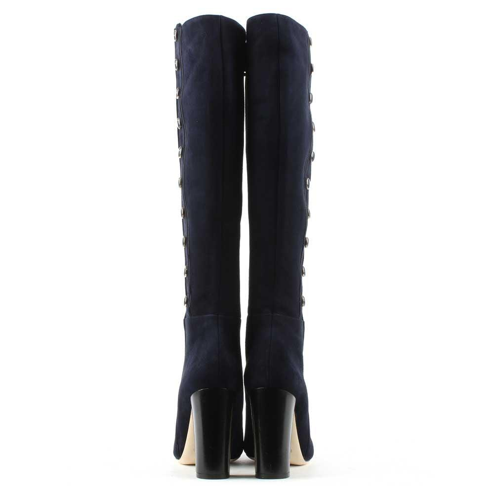 Phio Myo Eunice Navy Suede Embellished Knee Boot in Navy Leather (Blue)