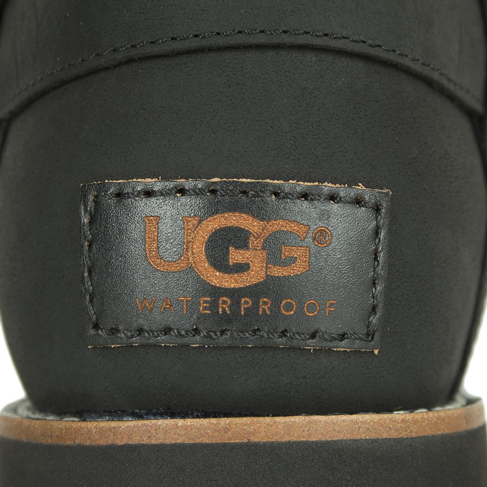 UGG Noira Black Leather Flat Calf Boot