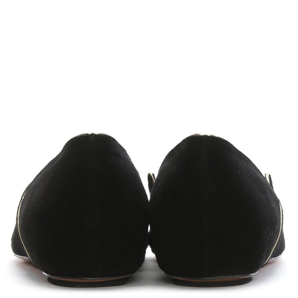 4b39b54f8da4 Lyst - Phio Myo Black Suede Gold Trim Pointed Flats in Black