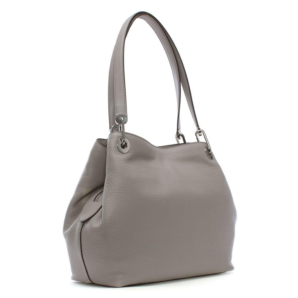 5590d8631c32 Michael Kors Raven Large Pearl Grey Leather Shoulder Bag in Gray - Lyst