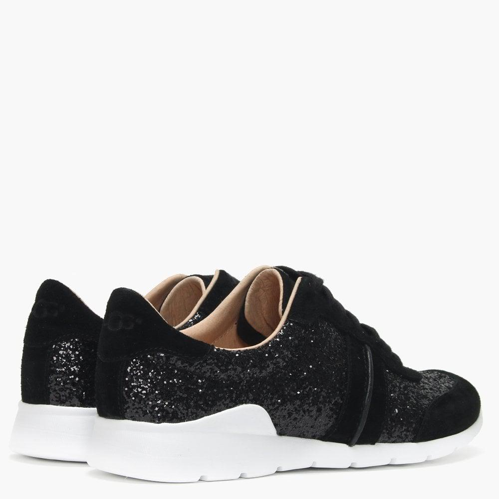 aed7f82fd45 Lyst - UGG Jaida Black Suede Glitter Lace Up Trainers in Black