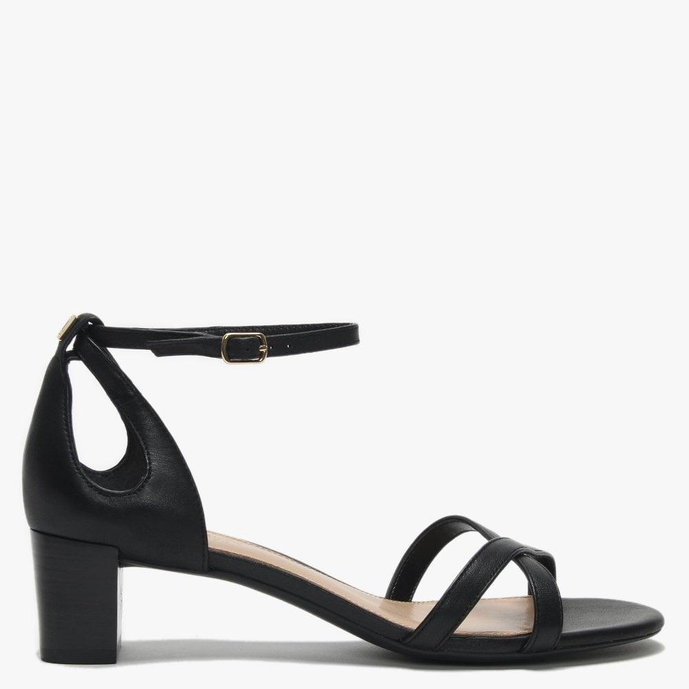 524ff7f06fc Lyst - Lauren by Ralph Lauren Folly Black Leather Block Heel Sandals ...