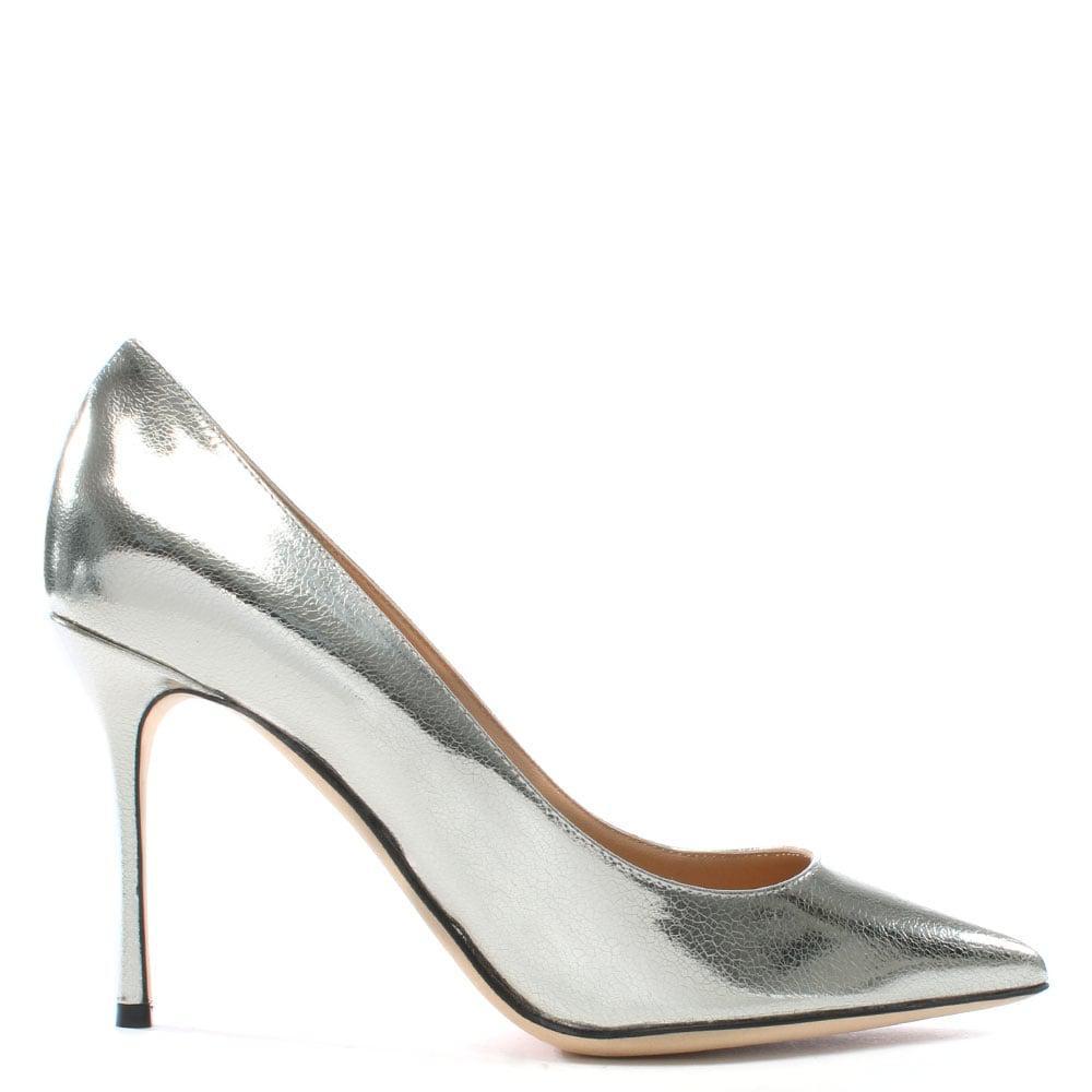 sergio godiva silver metallic suede high heel court