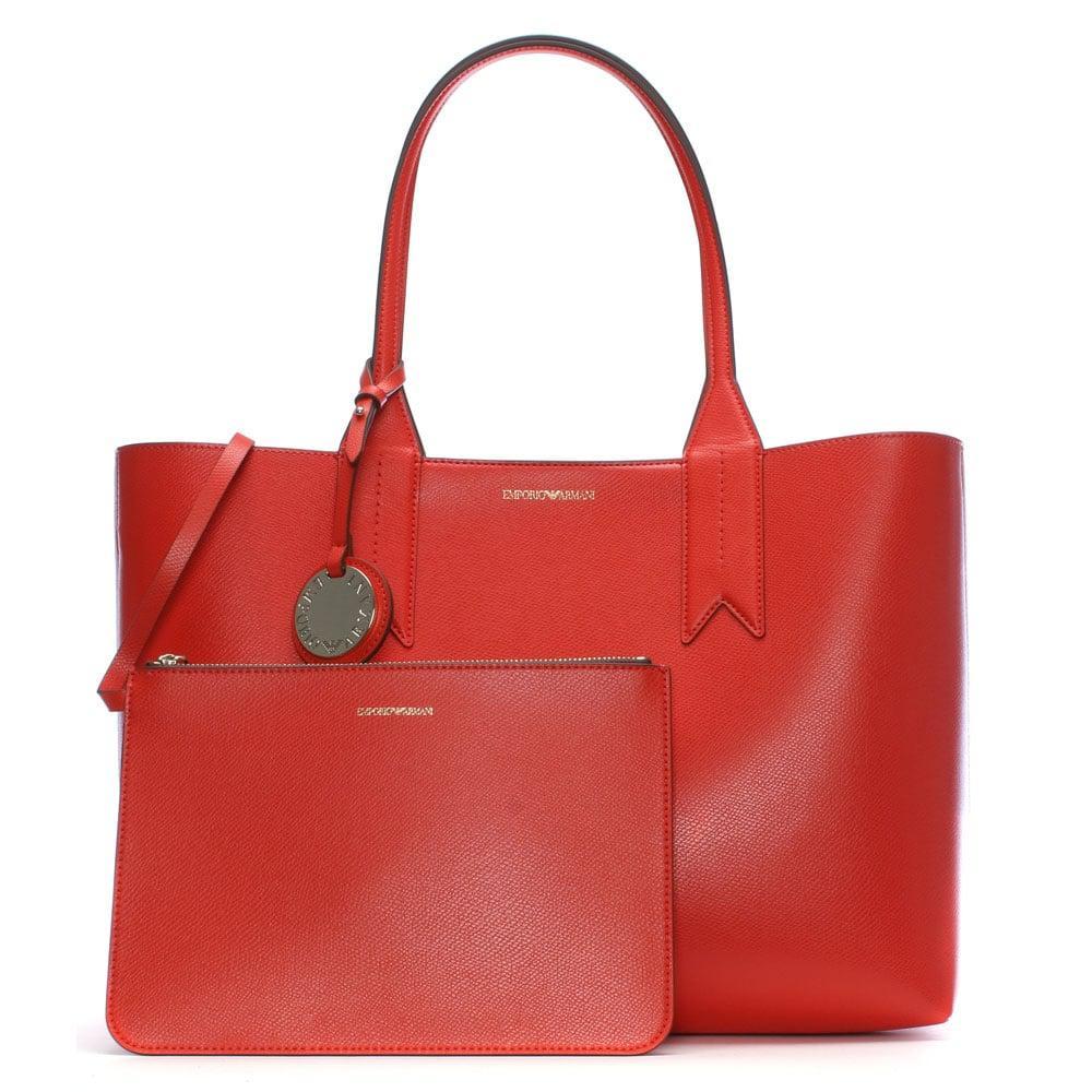 Emporio Armani Frida Red Textured Shopper Bag in Red - Lyst 43b28b62f82a8