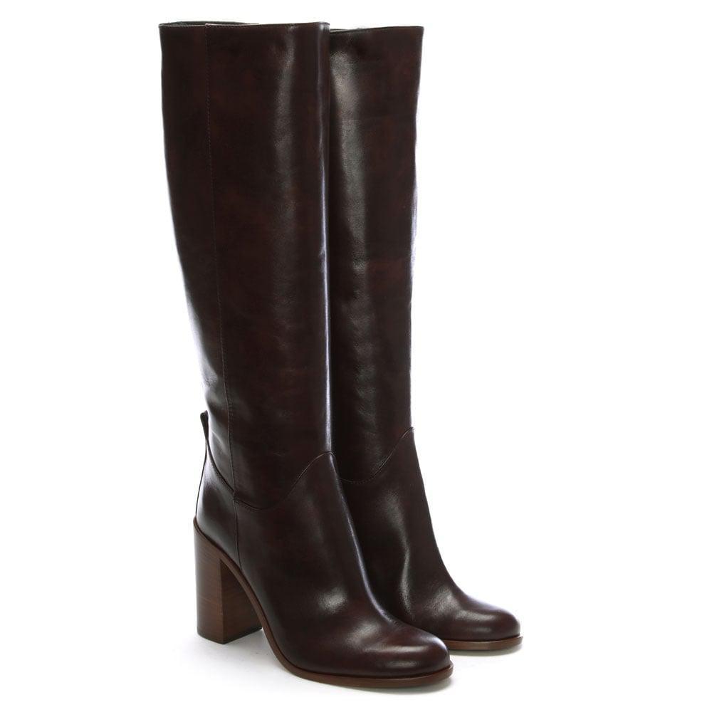 Lamica Grey Leather Block Heel Knee Boots in Grey