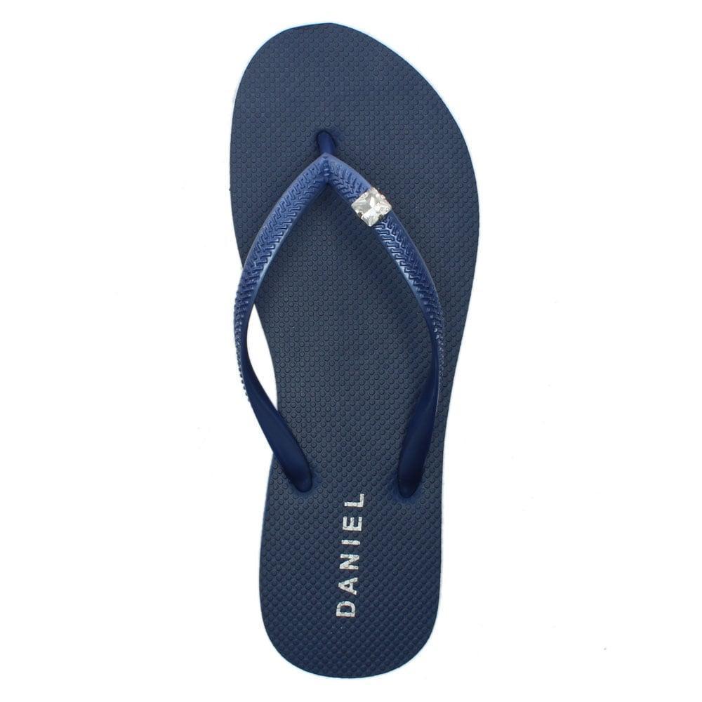 1500b393e07a7 Lyst - Daniel Elona Navy Jewelled Toe Post Flip Flops in Blue