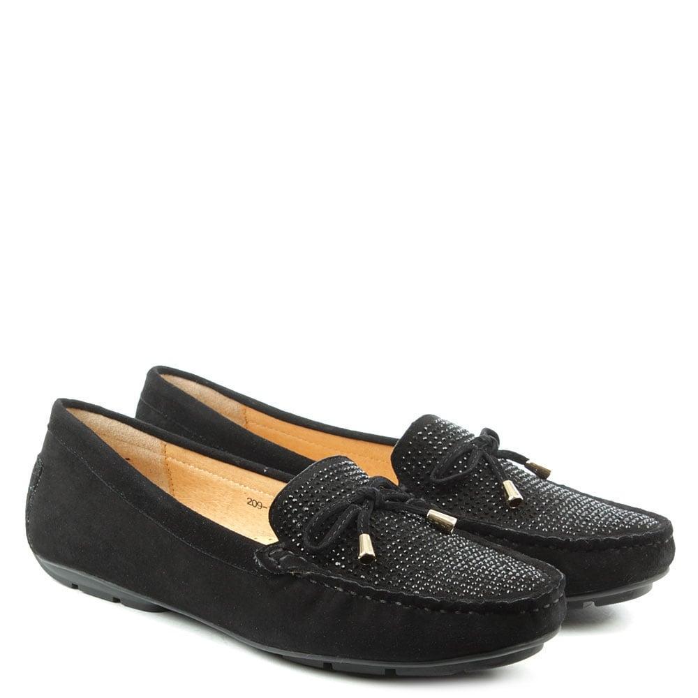 Black Suede And Diamante Bow Shoe