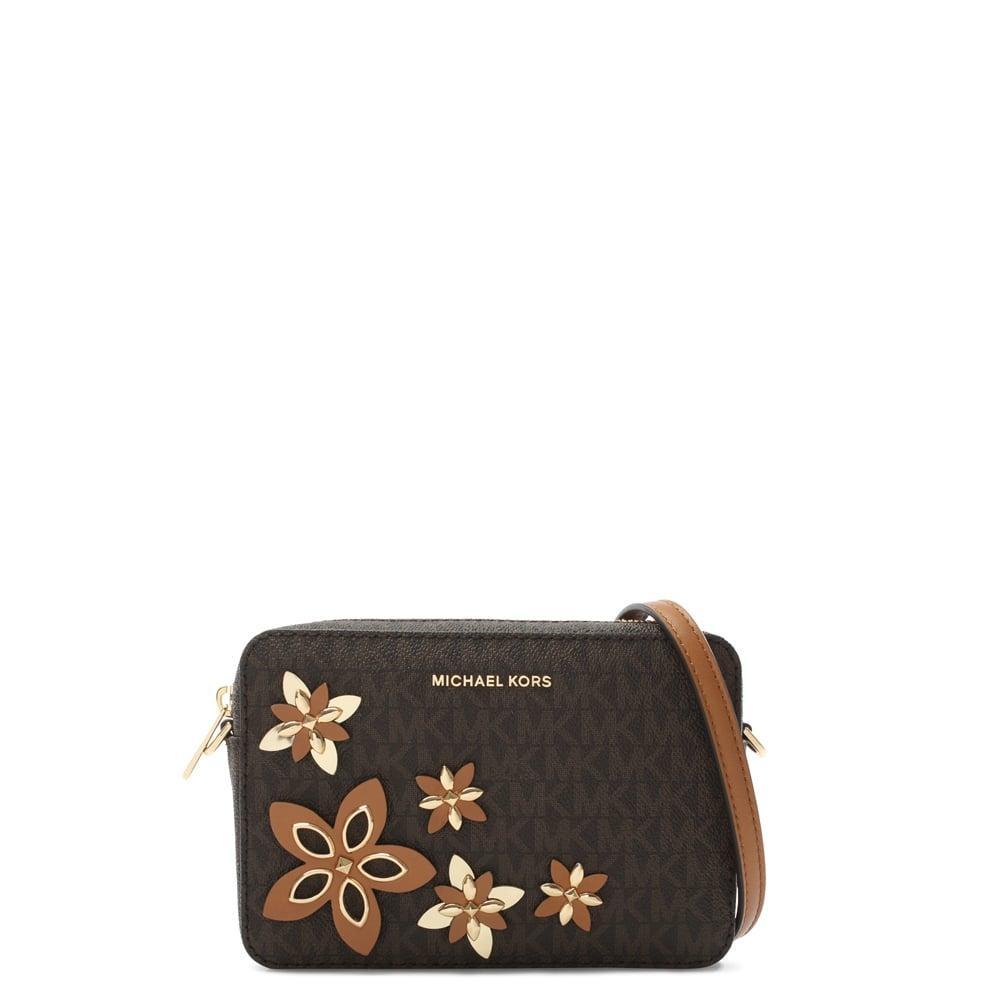 Lyst - Michael Kors Flowers Brown Coated Canvas Camera Bag In Brown