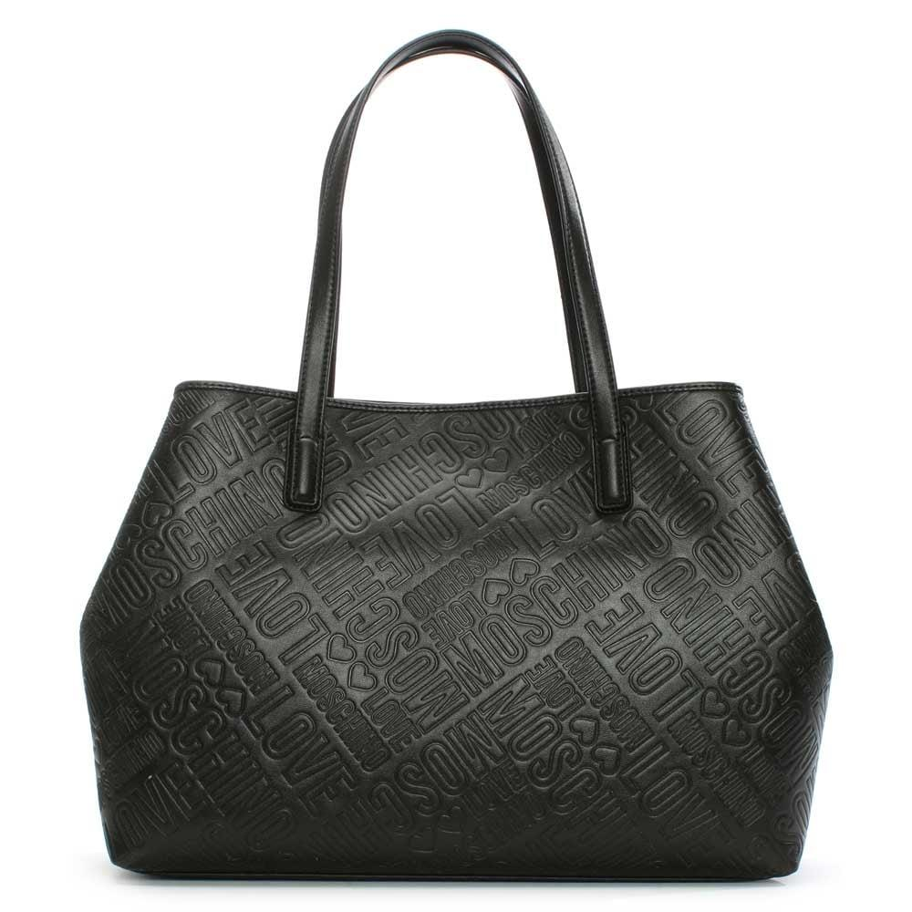 lyst love moschino bukit black logo shopper bag in black. Black Bedroom Furniture Sets. Home Design Ideas