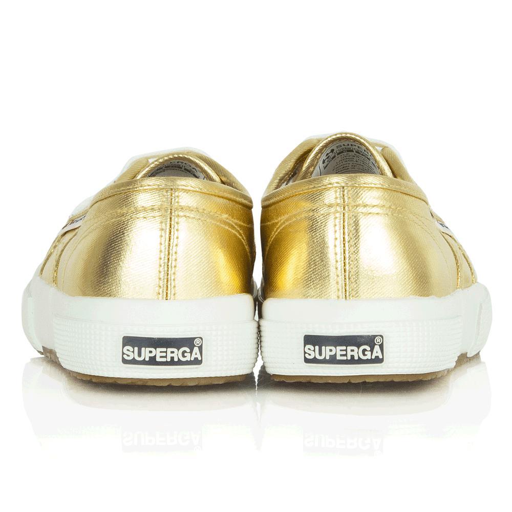 Superga Cotton Cotmetu Gold Metallic Lace Up Trainer