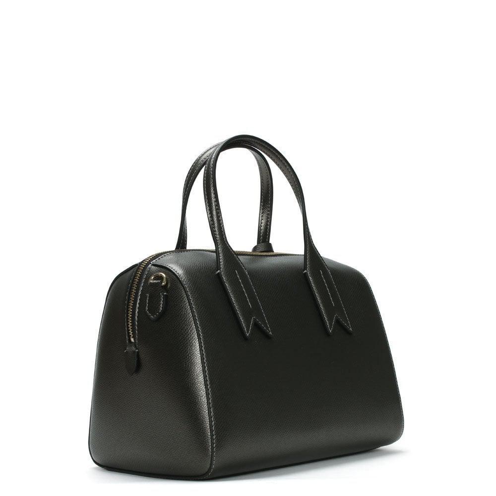 150d7c9814 Emporio Armani - Frida Steel Black Textured Top Handle Bowling Bag - Lyst.  View fullscreen