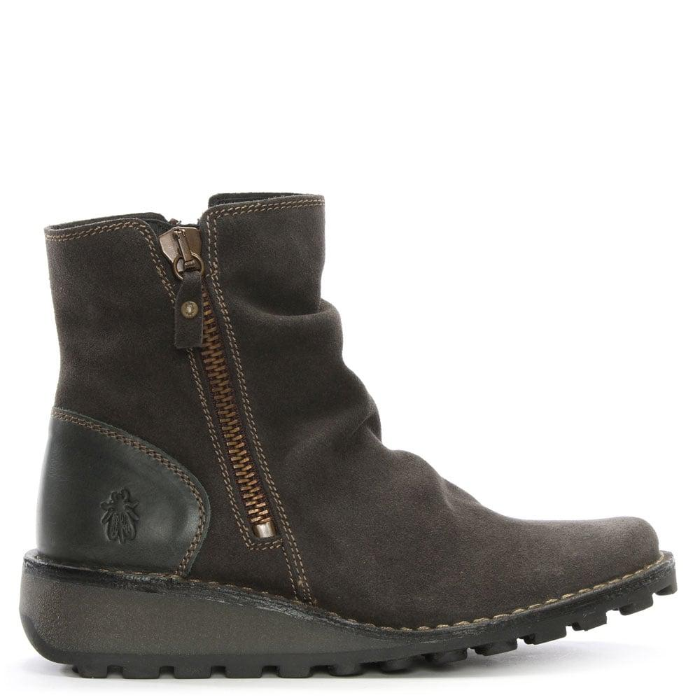 Lyst Fly London Mong Suede Wedge Ankle Boots In Gray