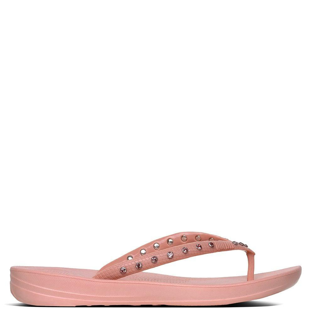 1e91e0dedbe7c5 Lyst - Fitflop Iqushion Crystal Dusky Pink Toe Post Flip Flops in ...