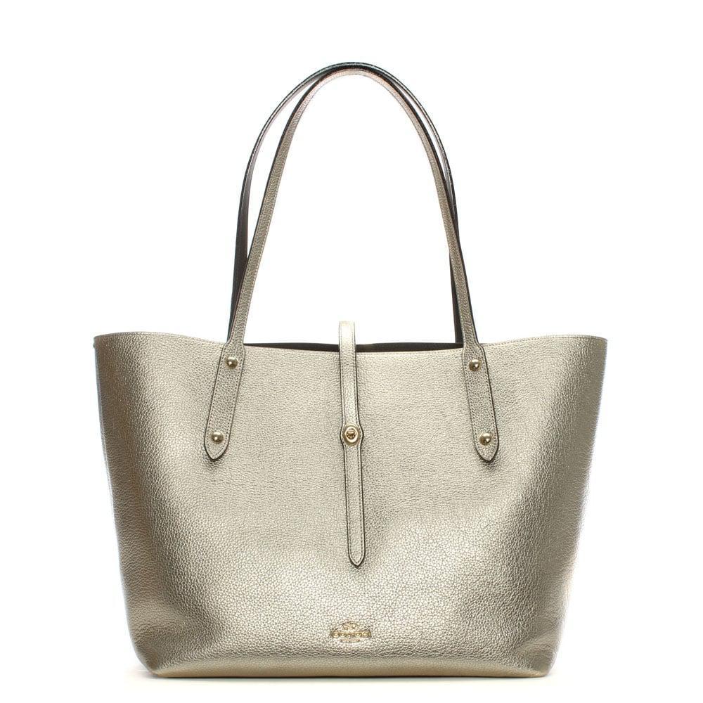 4332726b88 Lyst - COACH Market Polished Platinum Chestnut Leather Tote Bag in ...